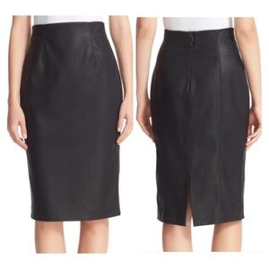 Rebecca Taylor Faux Leather Black Pencil Skirt